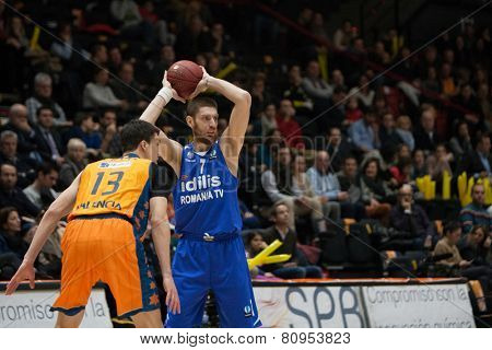 VALENCIA, SPAIN - JANUARY 21: Lucic 13 and Pelekanos during Eurocup match between Valencia Basket Club and CSU Asesoft at Fonteta Stadium on January 21, 2015 in Valencia, Spain