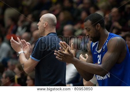 VALENCIA, SPAIN - JANUARY 21: Cooper (R) during Eurocup match between Valencia Basket Club and CSU Asesoft at Fonteta Stadium on January 21, 2015 in Valencia, Spain