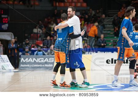 VALENCIA, SPAIN - JANUARY 21: Labovic (R) and Nedovic (L) during Eurocup match between Valencia Basket Club and CSU Asesoft at Fonteta Stadium on January 21, 2015 in Valencia, Spain