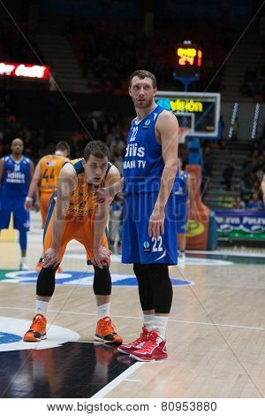 VALENCIA, SPAIN - JANUARY 21: Runkauskas (R) and Nedovic during Eurocup match between Valencia Basket Club and CSU Asesoft at Fonteta Stadium on January 21, 2015 in Valencia, Spain