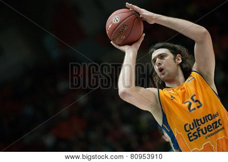 VALENCIA, SPAIN - JANUARY 21: Loncar during Eurocup match between Valencia Basket Club and CSU Asesoft at Fonteta Stadium on January 21, 2015 in Valencia, Spain