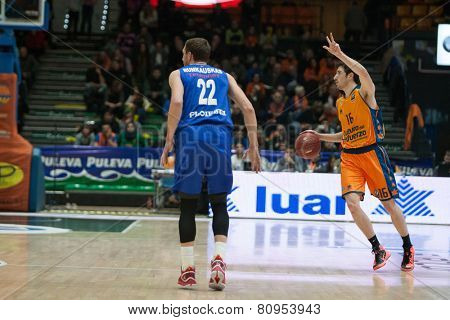 VALENCIA, SPAIN - JANUARY 21: Vives with ball during Eurocup match between Valencia Basket Club and CSU Asesoft at Fonteta Stadium on January 21, 2015 in Valencia, Spain