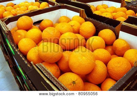 Mandarins In The Boxes At The Food Store