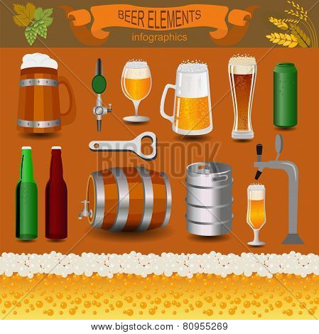 Beer infographics, set elements, for creating your own infographics