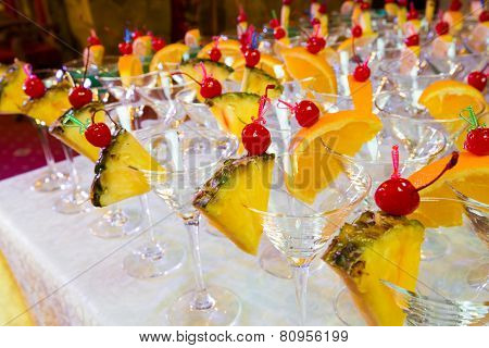 Catering - Empty Decorated Cocktail Glasses Ready For Pouring. Closeup