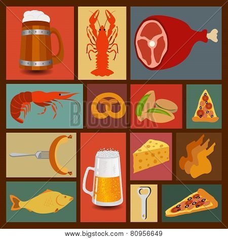 Beer snacks, set icons for creating your infographics