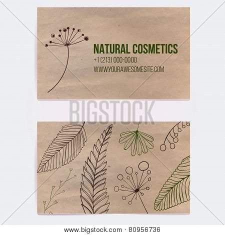 Two sided business card for natural cosmetics