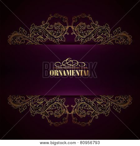 Beautiful elegant background with lace floral ornament and place for text. Designl elements, ornate background. Vector illustration. EPS 10