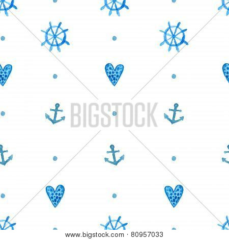 Simple nautical pattern with watercolor painted anchors, blue hearts and steering wheels. Blue vecto