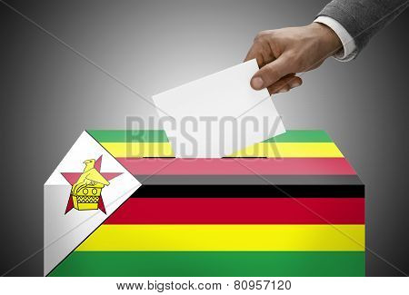 Ballot Box Painted Into National Flag Colors - Zimbabwe