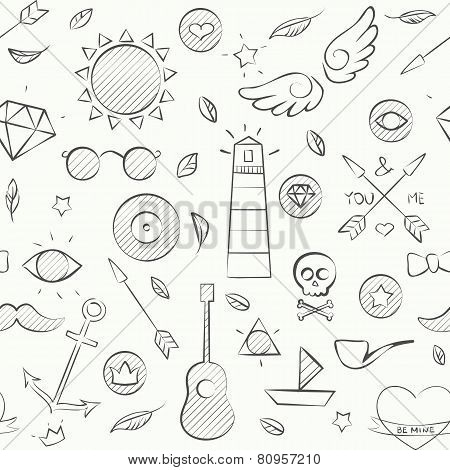 Hand Drawn Hipster Seamless Pattern Over White