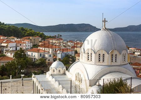 PYLOS, GREECE - OCT 6, 2014: Top view on the Pylos island. Modern town of Pylos, was built by the troops of General Maison during the subsequent French Morea expedition of 1828-1833.