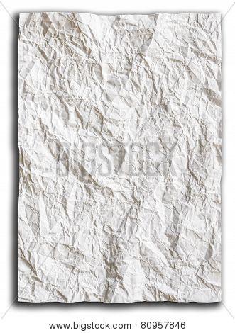 Wrinkled Paper Background On White Background