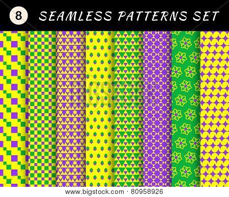 Mardi gras seamless patterns. Carnival backgrounds