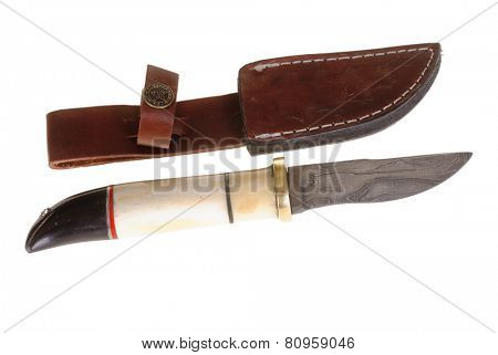 Hayward, CA - January 23, 2015: Damascus blade knife made in the Punjab, Pakistan