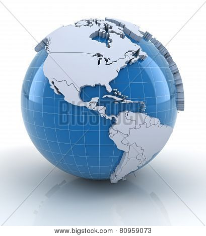 Globe with extruded continents, north and south america regions