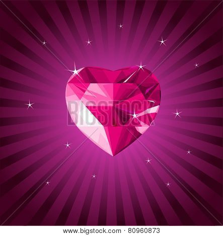 Valentine crystal love heart on radial background