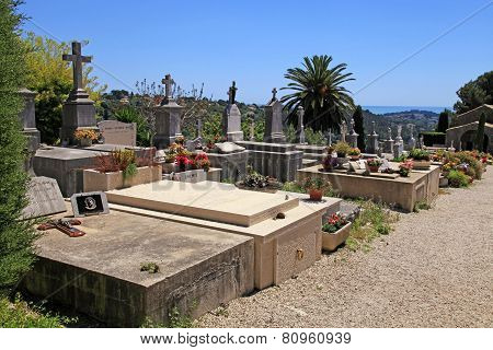 Old Cemetery In Saint Paul De Vence, Provence, France.