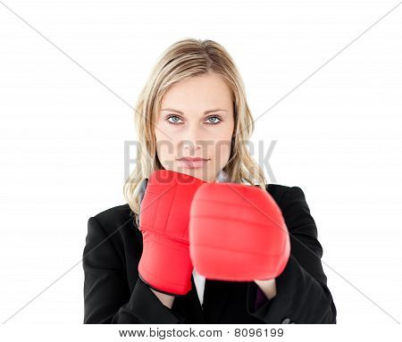 A Portrait Of A Confident Businesswoman With Boxing Gloves