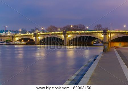 Pont de la Concorde at night in Paris, France