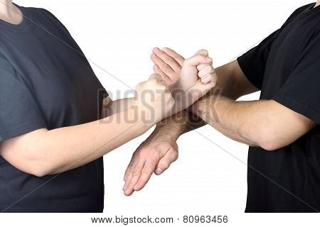 On a white background athletes perform tricks Wing Chun Kung Fu