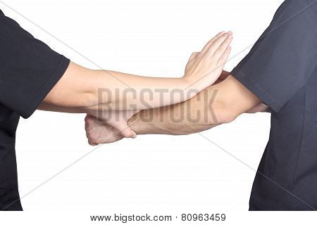 Punch arm and block of Wing Chun kung fu are doing athletes do