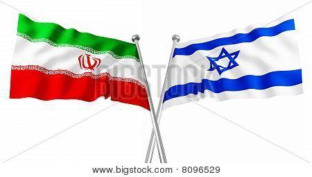 Israel And Iran Flag