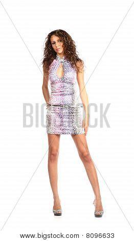 Sexy Brunette In  Parti-coloured Dress