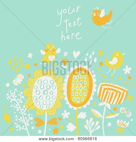 Cute cartoon birds on flowers. Pastel colored floral background in vector. Childish vintage elements