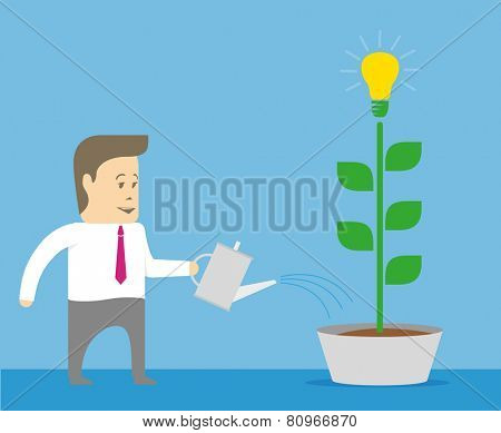 Businessman idea grows and water the plants from a watering can