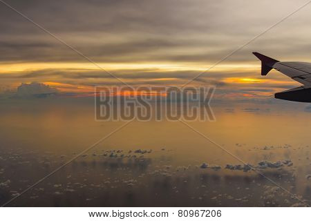 Aircraft Wing On The Clouds, Flying Sunset Background