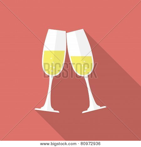 Glasses of champagne. Flat style icon
