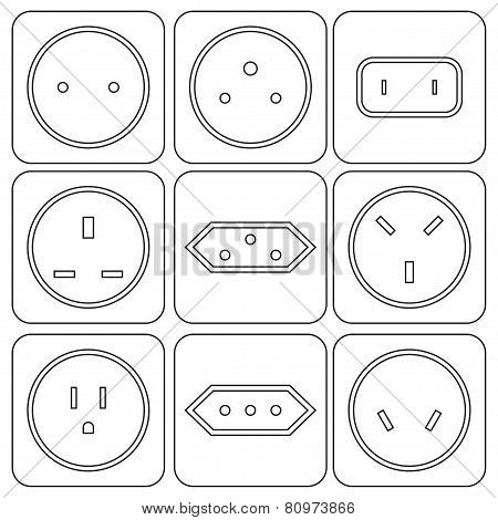 Icon Set Of International Electric Sockets