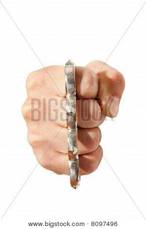 Brass Knuckles On Fist