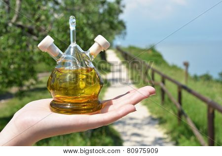Bottle of olive oil. Sirmione, Italy