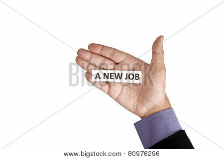 Hand Holding Paper With A New Job Text