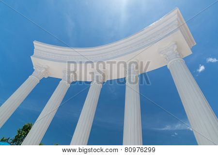 Greek Roman Column Blue Sky