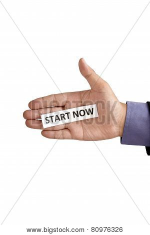 Hand Holding Paper With Start Now Text