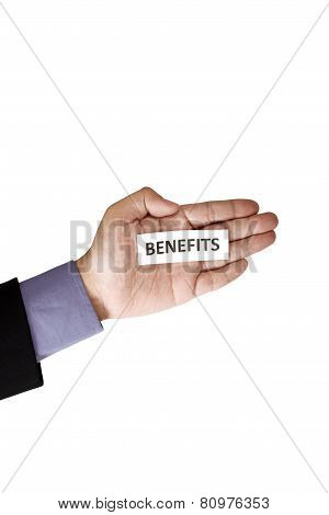 Hand Holding Paper With Benefits Text
