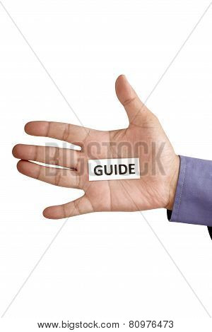 Hand Holding Paper With Guide Text