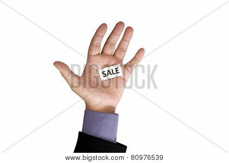 Hand Holding Paper With Sale Text