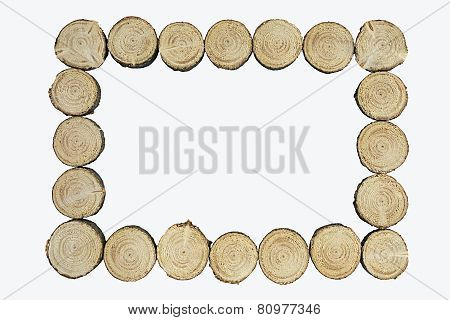 Frame of fir wooden dice on white background