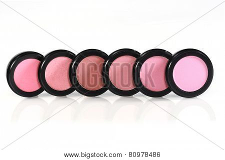 New Unused Blush Colors in Black Circular Containers