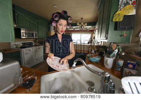 1950 Era Housewife Doing Her Daily Chores