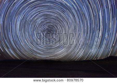 Vortex Night Exposure Star Trails of the Sky