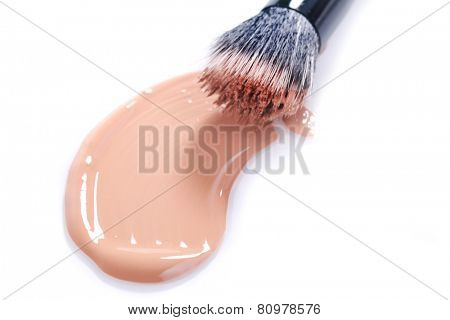 Liquid Beige Make Up Foundation on White Background Smeared