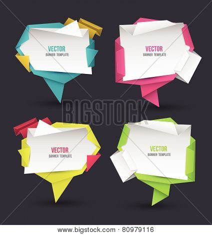 Abstract modern origami speech bubble set. Vector abstract banner illustration.