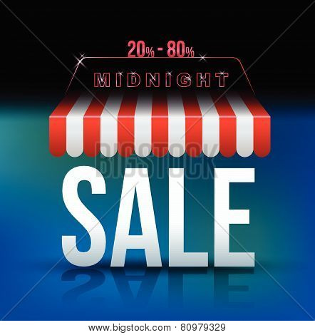 Midnight sale banner awning for promotion advertising poster. Vector illustration