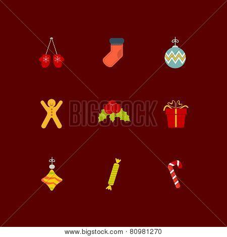 Christmas icon set of nine flat style