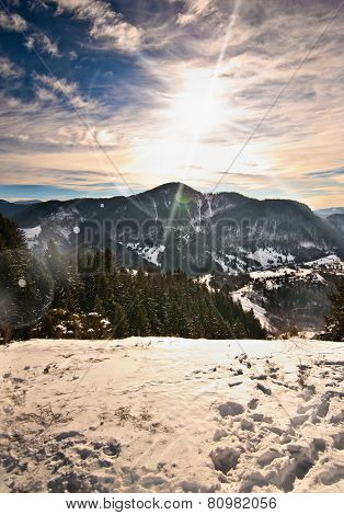 Majestic sunset in the mountains landscape. Sunset landscape in Carpathian mountains